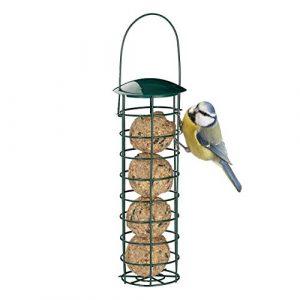 Relaxdays Mangeoire pour oiseaux à accrocher, borne à nourriture pour oiseaux, avec toit, fer; 31 cm, vert foncé