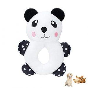 Shuda 1 Pcs Jouet pour Animaux Mignon Peluche Panda Style Couinements Sonore Jouet pour Chien Chat Chew Jouet Chien Corde Jouet pour Chiot Jeux Balle Chien, 13.5 * 9.5cm