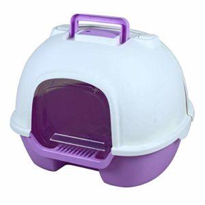 Super Eight Cat Litter Box – Plastique, Cat Toilet Fully Enclosed Design Mettre Fin à la Puanteur, Large,Violet
