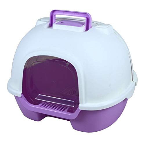 Super Eight Cat Litter Box – Plastique, Cat Toilet Fully Enclosed Design Mettre Fin à la Puanteur, Large,Violet