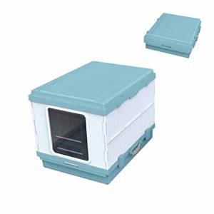 SWQG-Poêle Bac À Litière Pliable pour Chat Résistant Aux Éclaboussures Toilettes pour Chats Surdimensionnées Entièrement Fermées Chat Toilette-Facile à Nettoyer (Couleur : Blue)