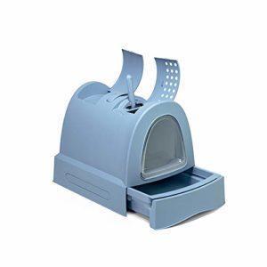 SWQG-Poêle Grande Maison De Toilette pour Chat Entièrement Fermée Bac À Litière pour Chat avec Toit Ouvrant Supérieur Bleu/Rose Chat Toilette-Facile à Nettoyer (Couleur : Blue)