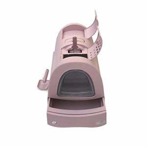 SWQG-Poêle Grande Maison De Toilette pour Chat Entièrement Fermée Bac À Litière pour Chat avec Toit Ouvrant Supérieur Bleu/Rose Chat Toilette-Facile à Nettoyer (Couleur : Pink)