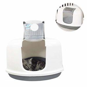 SWQG-Poêle Maison De Toilette pour Chat Entièrement Fermée De 10 Kg avec Cage À Coin pour Litière pour Chat Chat Toilette-Facile à Nettoyer