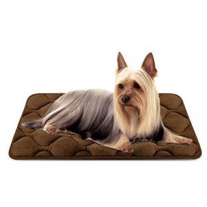 Tapis doux pour chien, Coussin de luxe et durable, Tapis antidérapant et lavable de chien Hero Dog (brun, Petite)