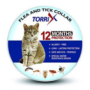TORRIX Collier Anti-puces et tiques pour Chat – 12 Mois de prévention Contre Les puces – Réglable et imperméable pour Chat Anti-puces et Anti-tiques