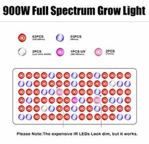 xiadsk 1200W LED Plant Growth Lamp Full Spectrum Dual Switch Indoor Flower Growing Aquarium