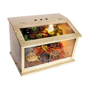 Xu-pet Reptile Naturel Vivarium Box, Vivarium Reptiles d'élevage Boîte-Tortue Lézard d'insectes d'alimentation du réservoir Critter Condo Reptile Cage for Animaux Maison (Size : 60 * 40 * 40CM)