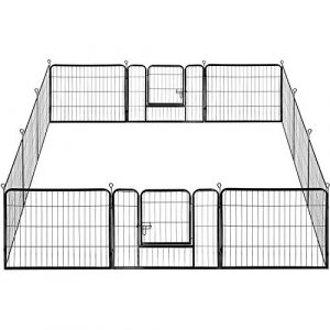 Yaheetech Parc Chien 12 Panneaux 60 cm H Enclos pour Chien/Chiot/Lapin/Canard/Animaux de Compagnie avec 2 Portes