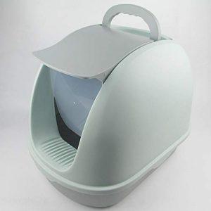 YunChuan Bac à Litière pour Chat avec Couvercle Double Bac à Litière pour Chat Couvercle De Protection pour Chat Splash Surdimensionné Toilette pour Chat Entièrement Fermée Gray