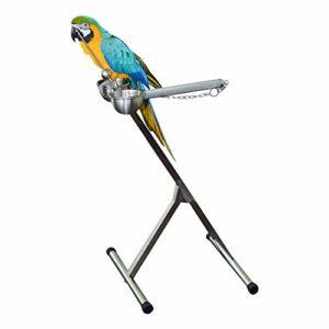 Zengqhui Support d'oiseau Station d'alimentation des Oiseaux en métal Pliable Medium et Large Parrot Out de Transport Transporteur (Couleur : Silver, Size : 45x48x98cm)