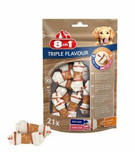 8in1 Triple Flavour XS – Os à Mâcher pour Chien de Petite Taille – Plus de viande, plus de durée de mâche – Limite le Tartre – Sans OGM, Conservateur Artificiel – 21 pcs