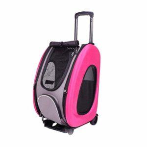 A_Feel Sac à Dos Animal de Compagnie Poussette Multifonction Poussette 5-en-1 Rose Roue Trolley Cat Dog Simple Épaule Backpac Bag Car