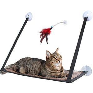 Amazy Perchoir à chat pour fenêtre avec jouet à plume – Hamac de fenêtre pour chat, confortable et idéal pour gagner de la place