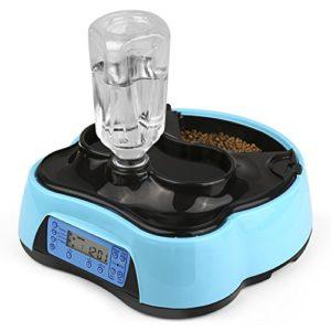 Amzdeal Distributeur de L'eau et Nourriture Automatique pour Animaux de Compagnie, Distributeur de croquettes avec 4 fois repas et eau pour Chien (grand, moyen, petit) et Chats