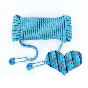 ANHPI Corde D'Escalade Gras Extérieur Résistant à L'abrasion Statique Descente Corde De Sécurité Corde D'évacuation De Secours,Blue-100m*12mm