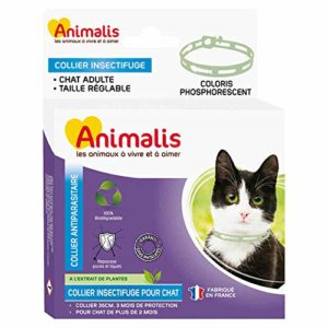 Animalis Collier Antiparasitaire Phosphorescent pour Chat 35cm