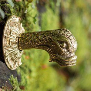 Antikas Distributeur d'eau Koi Fontaine figurine Gargouille en laiton POISSON Tête 1/2«