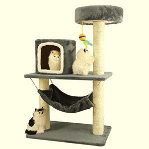 Aoligei Arbre à Chat Grand Hamac 65 * 45 * 100 cm de Grand Chat Jouets Chaleureux Petit nid Moelleux à Base de Bois Panneau + sisal + Laine Velours