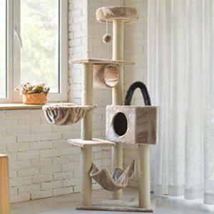 Arbre à chat multicouche, grand cadre d'escalade de chat, panneau de grattage de chat, mobilier de bâtiment d'appartement de chat et maison de jeu d'animal de compagnie de chaton de tour, une variété