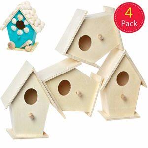 Baker Ross Lot de 4 Mini nichoirs en Bois pour Enfants, décoration, Loisirs créatifs, EC1235