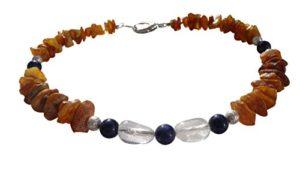 Bernstein 00508.7DK amberdog Collier d'ambre et de cristaux de roche pour chien