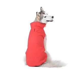 Bwiv Manteau d'hiver pour Chiens Grand Veste Vêtement Imperméable Intérieur Polaire avec Un Passage du Harnais ou la Laisse Rouge 4XL