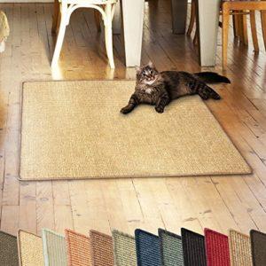 casa pura Tapis pour Chat – Tapis griffoir en sisal résistant | Fibre 100% Naturelle Anti-Allergique | Jaune Clair – 60x80cm