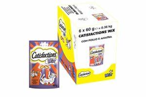 Catisfactions Friandises pour chat – Goût poulet & Canard – Récompenses pour chats adultes et chatons – Pack de 6 sachets de 60 g