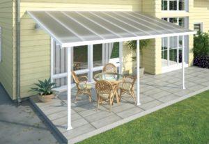 Chalet et jardin 701693 – Toit Couv' Terrasse – Aurore Aluminium – 3 X 5.46 M – Blanc