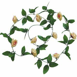 Cupcinu Simulation Fleur Rose Vigne Fleur Artificielle de Fleurs artificielles Simulation Plante Vigne Canne Décoration Mariage Photographie Props, doré, 2.45m