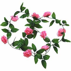 Cupcinu Simulation Fleur Rose Vigne Fleur Artificielle de Fleurs artificielles Simulation Plante Vigne Canne Décoration Mariage Photographie Props, Rose, 2.45m