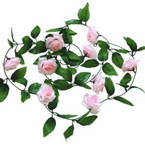 Cupcinu Simulation Fleur Rose Vigne Fleur Artificielle de Fleurs artificielles Simulation Plante Vigne Canne Décoration Mariage Photographie Props, Rose Clair, 2.45m