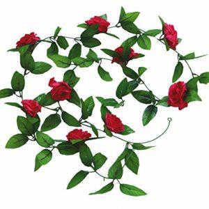 Cupcinu Simulation Fleur Rose Vigne Fleur Artificielle de Fleurs artificielles Simulation Plante Vigne Canne Décoration Mariage Photographie Props, Rose Rouge, 2.45m