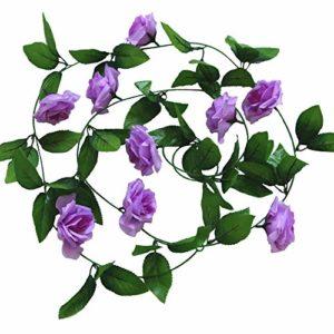 Cupcinu Simulation Fleur Rose Vigne Fleur Artificielle de Fleurs artificielles Simulation Plante Vigne Canne Décoration Mariage Photographie Props, Violet, 2.45m