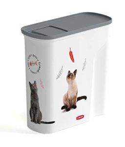 CURVER | Verseuse 6L/2.5Kg – Love pets – Chats, Blanc, Pet dry food container, 27,8×11,8×27,9 cm