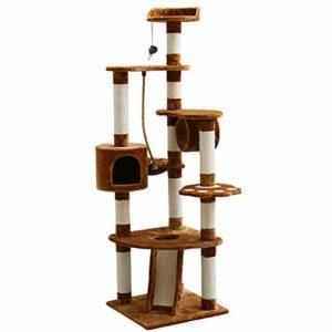Cxjff Jouets for Chats Multi-Level Cat Escalade Arbre Tour Condo Scratcher Meubles Maison Hamac avec Griffe Poteau Et Jouets for Chats Chatons Chat Interactive Jouet (Color : Coffee Color)