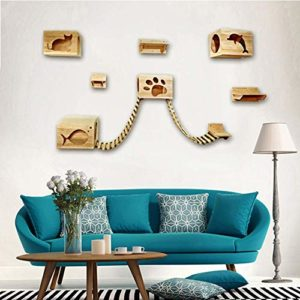 Cxjff Mur Chat Mural Litière Chat Plate-Forme Sauteuse Tremplin Chat Cadre d'escalade Maison en Bois Massif Grand Chat Échelle De Meubles