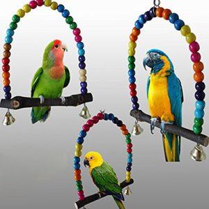 Delleu Wood Swing Parrot Cage Toys Jouet pour Oiseau Finch Perruche calopsitte Élégante Inséparables Rainbow Bridge
