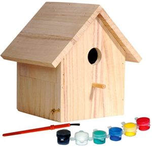 dobar 22368FSC Nichoir à Oiseaux en Épicéa certifié FSC – Kit de Fabrication pour Enfants à Construire et à Peindre au Pinceau, à l'éponge et au Pochoir