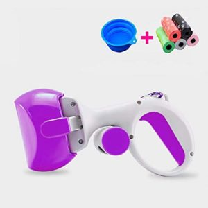 Doyime Poop Clamp Scoop with 10 Rolls Poop Bag Pet Dog Pooper Scooper Pooper Scooper Set for Dogs Top Paw Maws Valuable Package for Pick Up Pets Waste Purple 25.5×12.5cm