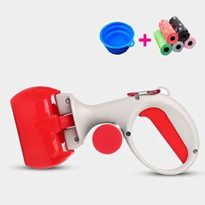 Doyime Poop Clamp Scoop with 10 Rolls Poop Bag Pet Dog Pooper Scooper Top Paw Maws Pooper Scooper Set for Dogs Valuable Package for Pick Up Pets Waste Red 25.5×12.5cm