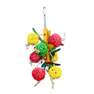 Drôle Parrot oiseaux Volière Jouet en bois Cave boule colorée avec des cloches Jouets Swings