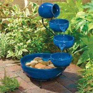Fontaine solaire bleu verre ierte kermaik