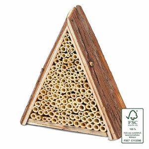 Gardigo 90541 – Abri et Ruche pour Abeilles Solitaires en Bois Naturel; Hôtel à Insectes; Maison, Nichoir à Guêpes – Facile à suspendre