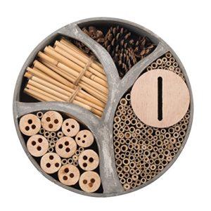 Gardigo 90567 – Hôtel à Insectes Rond en Bois Naturel/Bambou; Refuge pour Hibernation/Nidification; Maison, Abri, Nichoir à Coccinelle Abeilles Papillons Guêpes; 30 x 30 x 6,5 cm