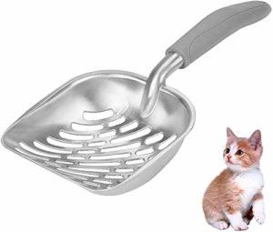 Générique Lot de 3 pelles à litière pour Chat en Aluminium argenté avec Manche Long en Caoutchouc