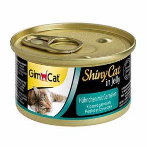 GimCat ShinyCat – Boîtes pour chats en gelée – Avec des morceaux de poulet et de crevette – Lot de 24 x 70 g