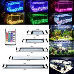 GreenSun 25W Éclairage Aquarium LED, RGB Aquarium Lampe 144LEDs 5050SMD, avec 24 Touches Télécommande, Rampe LED Extensibles Longueur pour Aquarium de 94-115cm