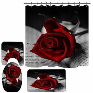 Gyratedream Saint Valentin Rideau de Douche 3D imprimé numériquement Rose Motif Tapis Tapis Combinaison Salle de Bain Tapis de Toilette